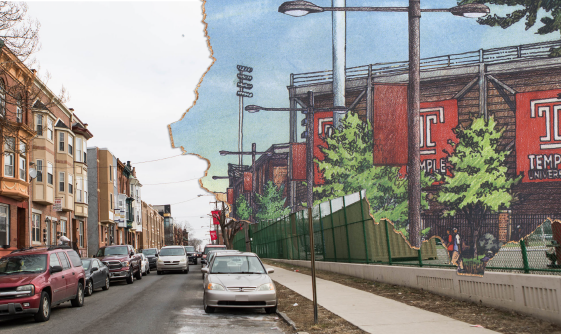 PHOTO BY SYDNEY SCHAEFER, ILLUSTRATION BY COURTNEY REDMON / THE TEMPLE NEWS STADIUM RENDERING VIA / TEMPLE'S PROJECT OVERVIEW