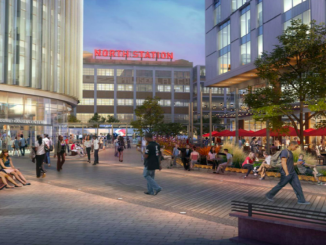 A rendering from the Urban Land Institute's report shows an open plaza space near the station. | COURTESY URBAN LAND INSTITUTE