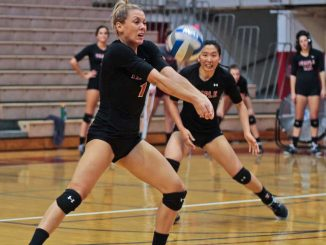 Sophomore Tiffany Connatser fulfills the role of team setter, improving team chemistry. ( TIMOTHY VALSHTEIN / TTN )