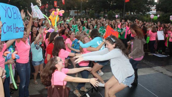 Hundreds of sorority sisters flocked to the Bell Tower earlier this month. This semester, 446 students registered for recruitment, a 100 percent increase from last fall. ( JOHN MORITZ   TTN )