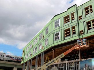 Construction workers have been building Paseo Verde since March. The housing complex, which won't be targeting students, is set to be completed Spring 2013. ( ABI REIMOLD // TTN )