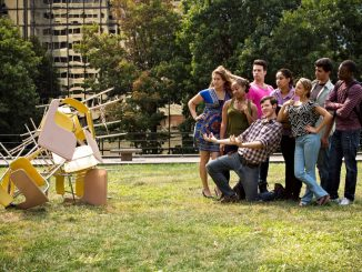"""The eight-person cast of """"Quarter Life Crisis"""" take on roles of people their own age. ( COURTESY AMANDA NEUBER )"""