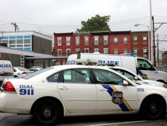 Police cars parked at the 22nd Police District. The Philadelphia Police Department has provided supplemental patrols to Temple this year. ( SABA AREGAI // TTN )