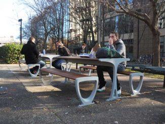 Senior advertising major Mike Negri, 23, eats at the new picnic tables. | ABI REIMOLD / TTN