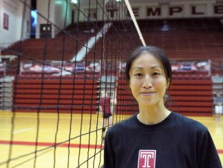 Akiko Hatakeyama works with setters as an assistant coach. She played for Temple in the 1990s. | ABI REIMOLD // TTN