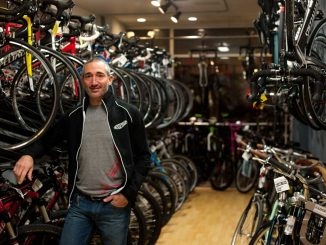Lee Rogers' bike shop, Bicycle Therapy, is a stop in Cadence Cycling Foundation's Philly Poker Bike Tour on Dec. 8. The event will have riders stop at designated bike shops in Philadelphia to collect poker cards. | ALEX UDOWENKO / TTN