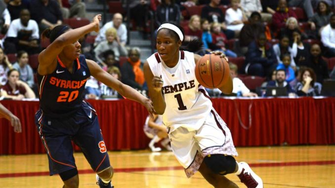 Freshman guard Erica Covile drives to the basket in a 74-67 win against Syracuse on Dec. 2, when she scored five points in 24 minutes. Covile's father, Lewis Covile, Jr., passed away in August 2012. | MAGGIE TRAPANI TTN