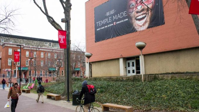 Temple Made banner geared toward athletics hangs on Barton Hall. | LUIS RODRIGUEZ / TTN