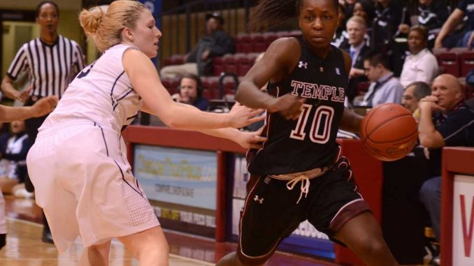 Freshman forward Sally Kabengano moves the ball upcourt against Xavier on March 8. She scored seven points and played 38 minutes in the 52-45 Temple win. | MAGGIE TRAPANI / TTN