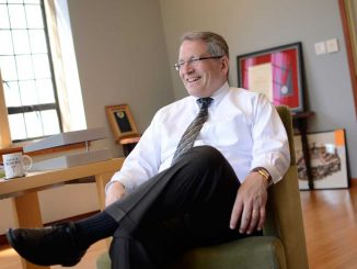President Neil Theobald talks with The Temple News in his office last week. | ANDREW THAYER / TTN