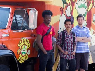 Reggie Hawkins, Sarunyoo Tohchoodee and William Shanley founded Legit Delivery, which delivers food from trucks on Main Campus to students. | LUIS FERNANDO RODRIGUEZ / TTN