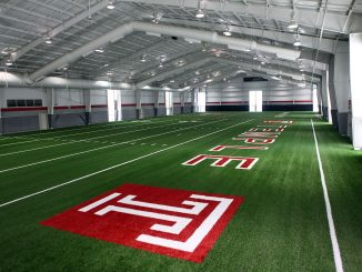 The Student Pavilion's transformation into an indoor football facility has been completed. // 2020 Digital Media