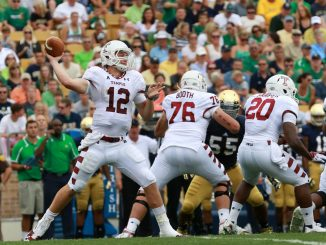 Connor Reilly looks to throw against Notre Dame. // HUA ZONG // TTN