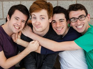 """(From left) Aaron Palmer, Jeff Familetti, Stephen Fala and Matt McWilliams star in """"One of the Guys,"""" an award-nominated web series. 