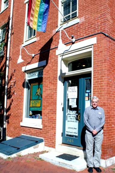Ed Hermance stands outside of Giovanni's Room, Hermance has been with the store since 1976. | Luis Fernando Rodriguez TTN