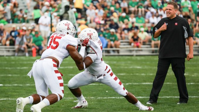 Coach Matt Rhule watches Owl players before the team's season opener against Notre Dame. Rhule has drawn the ire of fans after presiding over the worst start in six years for Temple. | Hua Zong TTN
