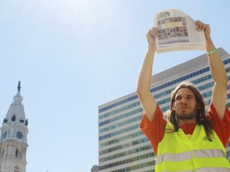 Henry Haze sells One Step Away, a street newspaper dedicated to helping the homeless. | Patricia Madej TTN