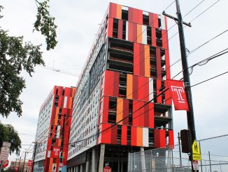 The unnamed residence hall on 12th and Montgomery streets. Despite a rainy summer and an accident in July where no one was hurt, the building is expected to open next fall. | Amanda Shaffern TTN