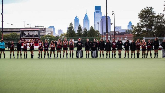 The team lines up before its 5-1 win against Georgetown. | KELSEY STRANGER TTN