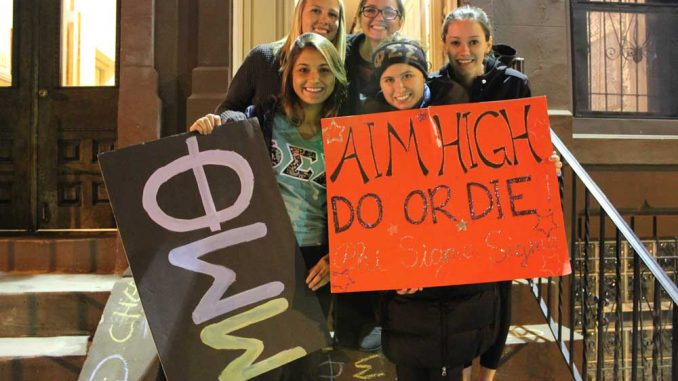 Sisters of Phi Sigma Sigma recently held an annual grilled cheese fundraiser, which donated to the local school district. | Tyra Lockhart TTN