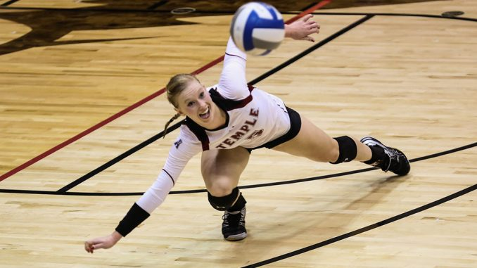 Senior Elyse Burkert collected 50 kills during Temple's recent homestand. | Hua Zong TTN