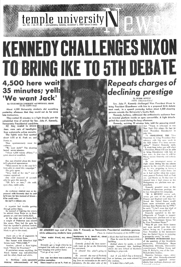 President John F. Kennedy gives a speech to students outside a women's dormitory in 1960. He memorably reprimanded a KYW reporter for sticking a microphone too close to his face.| TTN ARCHIVES