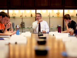 President Theobald teaches a freshman seminar to President's Scholars at Sullivan Hall on Mondays. The class discusses issues at the university and seeks to develop potential solutions in response. | Hua Zong TTN