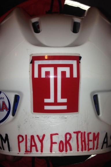 Greg Malinowski wears this helmet in remembrance of his late nephew and best friend.   Courtesy Greg Malinowski