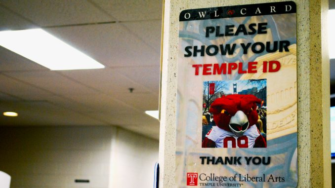 A sign warns students and faculty to show their Temple IDs inside Anderson Hall. Police are reviewing security policies in Anderson and other campus buildings after a professor was attacked and robbed. | Jillian Hammer TTN