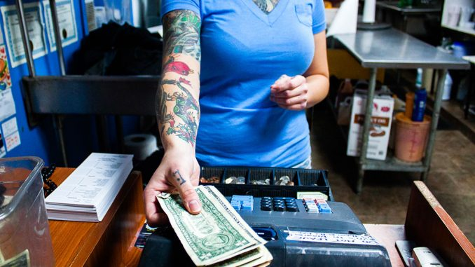 Casey Crawford works at Sketch Burger in Fishtown. She is also an aspiring tattoo artist and has apprenticed at several shops.  Kara Milstein TTN