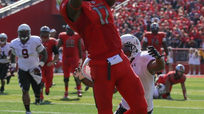 Rutgers redshirt-junior wide receiver Brandon Coleman leaps to make a catch. The Owls have had trouble rushing the passer and defending the pass. | Hua Zong TTN