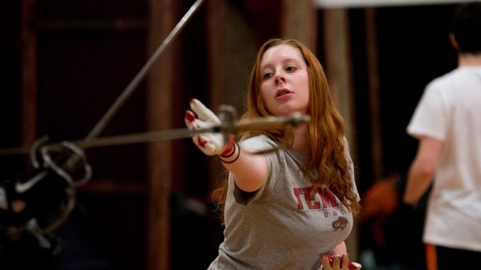 Junior theater major Ali Vreeland practices being disarmed by her opponent in a swordfight. | ABI REIMOLD TTN