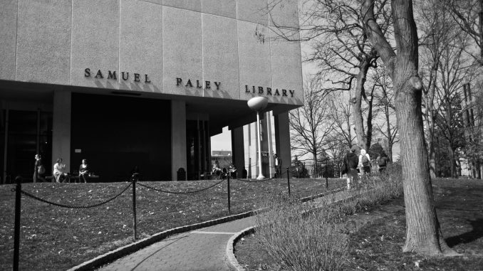 Paley Library will be repurposed following the construction of a new library in the location of Barton Hall. As part of the Visualize Temple master plan, administrators will create a new layout for the center of Main Campus. | Timothy Valsthein TTN FILE PHOTO