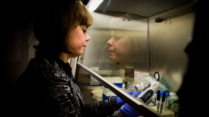 Now in the fifth year of her bioengineering degree, graduate student Elizabeth Curran began her work on the biochip program as a lab assistant. Now she works with Kiani and other students in the lab working with and manipulating live cells. | MEAGHAN POGUE TTN