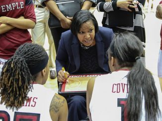 Temple coach Tonya Cardoza (center) talks to players during a huddle in a game against Rutgers. | Hua Zong TTN