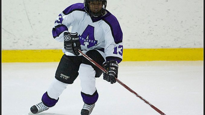 Karega played collegiate ice hockey and is now pursuing a master's degree. | Courtesy TARASAI KAREGA