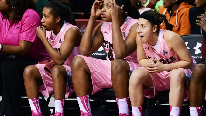 "The Owls' bench looks toward the court during the team's 55-53 loss to Cincinnati. Coach Tonya Cardoza said she is ""frustrated"" with the team's string of close losses against conference opponents this season.