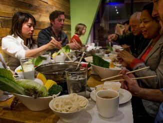 Customers enjoy shabu, or hotpot, at Simply Shabu, a newly opened restaurant in Chinatown. | Meaghan Pogue TTN