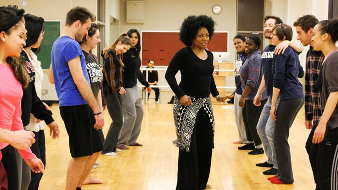 One day of class in the Embodying Pluralism course focused on teaching traditional African dance. Magira Ross (center), a guest lecturer, discussed the Middle Passage through dance. | Claire Sasko TTN