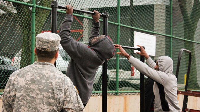 """The football team completed a series of exercises under the watchful eye of the ROTC's Will Vichinsky. The program partnered with the ROTC as part of coach Matt Rhule's """"Team Commitment Week,"""" which was introduced as a bonding and leadership experience for the players. The Owls will begin their spring practice schedule next week. 