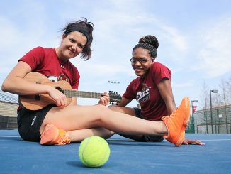 Carly Bohman (left) and Rebecca Breland have been involved with music nearly their entire lives. Bohman plays the piano and ukelele, while Breland enjoys singing. | Hua Zong TTN