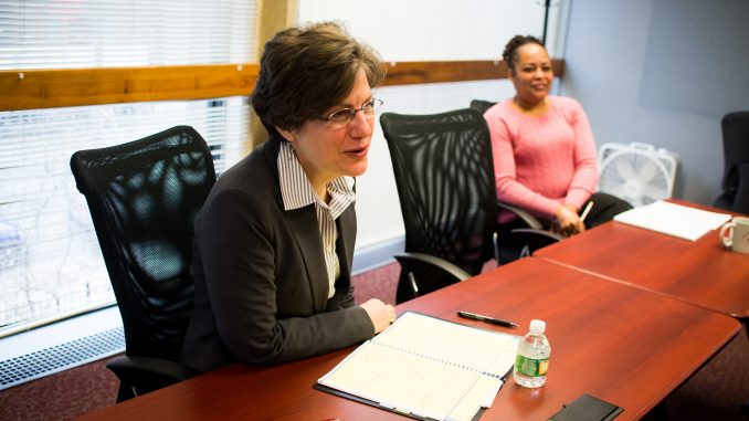 Rosalie Shemmer meets with Career Center staff. Shemmer took over the office in March after serving in a similar position at Manhattanville College for six years. | Abi Reimold TTN