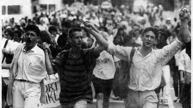 Students march down Broad Street in Fall 1990. | TTN FILE PHOTOS