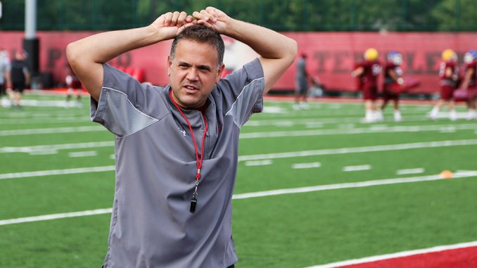 Entering his second season, Rhule is looking to improve on last season's 1-9 conference record. Andrew Thayer | TTN