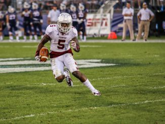 Jalen Fitzpatrick caught six passes for 108 yards in Saturday's 36-10 win at Connecticut. | Andrew Thayer TTN