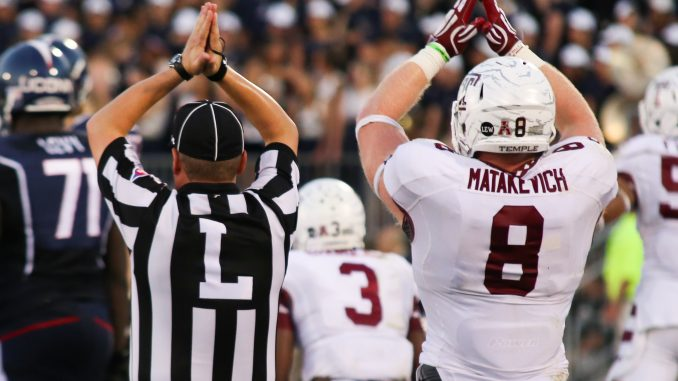 Junior linebacker Tyler Matakevich celebrates the Owls' safety against Connecticut, where the defense contributed 16 points in Temple's 36-10 conference win. Andrew Thayer   TTN