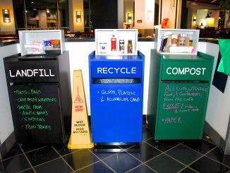 Each receptacle is labeled for each form of disposal and includes a list of examples explaining how they are categorized. Madeline Rothman TTN