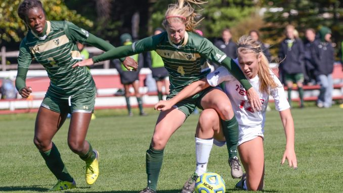Sophomore midfielder Elaine Byerley fights for the ball against South Florida en route to a 2-0 loss on Oct. 19. Jenny Kerrigan | TTN