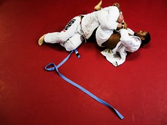 Austin Sampson (right) of Port Richmond trains Jiu-Jitsu at Renzo Gracie Philly on Oct. 26. Andrew Thayer |TTN