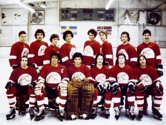 The men's ice hockey club poses for a team photo in the early years of its existence. Mark Murray was an original member of the club, which was formed in 1977. COURTESY MIKE JENKS